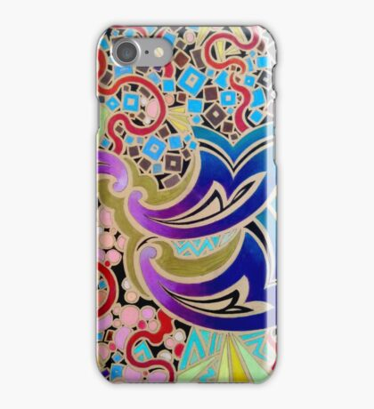 Paisley waves and heat flashes iPhone Case/Skin