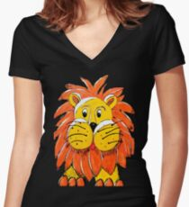 Lenny the Lion Women's Fitted V-Neck T-Shirt