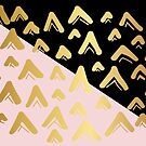 Cute, Beautiful, Luxury Gold Triangle Line Pattern on Black and Pink Background. Wallpaper, Graphic Design, Digital Abstract Art, Vector Illustration. by Maricrism