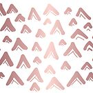Cute, Beautiful, Luxury Rose Gold Triangle Line Pattern on White Background. Wallpaper, Graphic Design, Digital Abstract Art, Vector Illustration. by Maricrism