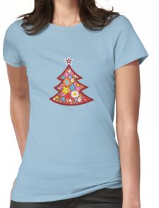 Spring Flowers Whimsical Christmas Tree Womens Fitted T-Shirt