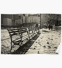New York Benches and People Black and White Poster