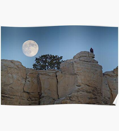 Moonrise Over Golden Eagle Rock Poster