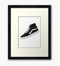 VANS HI TOP BLACK/WHITE Framed Print
