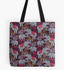 Thai elephants family Tote Bag