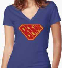 Bernie SuperEmpowered (Red and Gold) Women's Fitted V-Neck T-Shirt
