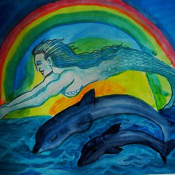 A mermaid swims with dolphins by Anne2018