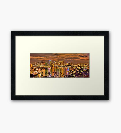 """""""Lights Camera Action"""" - Sydney Harbour - Moods Of A City - The HDR Experience Framed Print"""