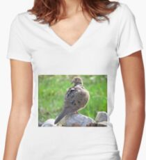 Mourning Dove Women's Fitted V-Neck T-Shirt