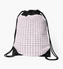 Pink Grid Drawstring Bag