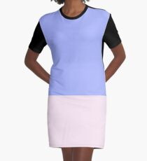 Blue and Pink Color Block Graphic T-Shirt Dress