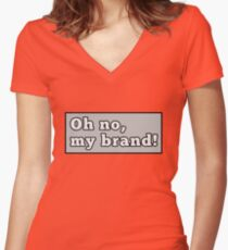 Oh nein, meine Marke! Tailliertes T-Shirt mit V-Ausschnitt