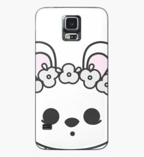 Cute Blanc de Hotot Bunny with Flower Crown: Grey Outline Case/Skin for Samsung Galaxy
