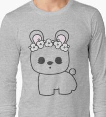 Cute Blanc de Hotot Bunny with Flower Crown: Grey Outline Long Sleeve T-Shirt