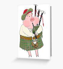 Bagpipe Pig Greeting Card