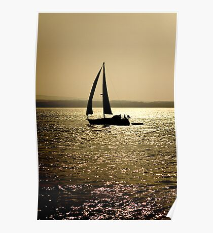 Silhouette Yacht Poster