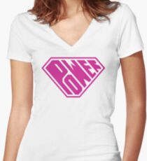SuperEmpowered (Pink) Fitted V-Neck T-Shirt