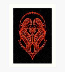 Red Gemini Zodiac Sign in the Stars Art Print