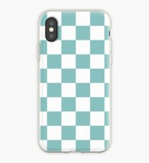Chalky Blue Checkers Pattern iPhone Case