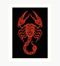 Red Scorpio Zodiac Sign in the Stars Art Print