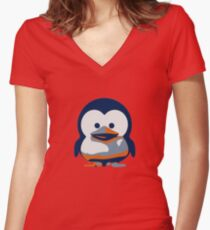 Linux Baby Tux II Women's Fitted V-Neck T-Shirt