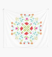 Scandinavian Folk Art Floral Design 1 Wall Tapestry