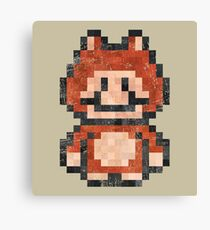 Super Mario Raccoon Vintage Pixels Canvas Print