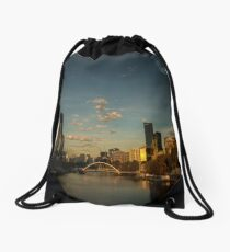 Footbridge over the River Yarra, Melbourne at daybreak. Drawstring Bag
