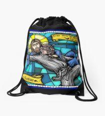 Jesus vs Satan Drawstring Bag
