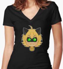 Chat Noir Chibi Women's Fitted V-Neck T-Shirt