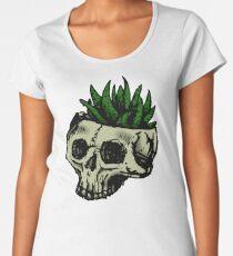 Haworthia Skull - Black and White Women's Premium T-Shirt