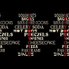 Famous New York City Foods Typography  by icoNYC