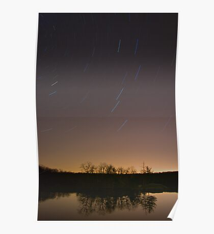 Star Trails at Green Falls Pond Poster