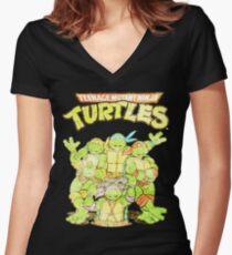 Retro Ninja Turtles Women's Fitted V-Neck T-Shirt