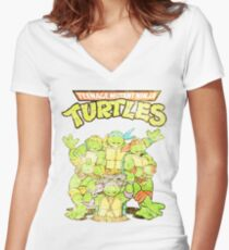 Retro Ninja Turtles Women's Fitted V-Neck T-Shirt