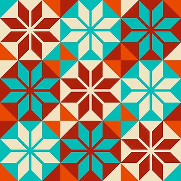 Geometric Pattern: Eight Petal Flower: Turquoise by redwolfoz