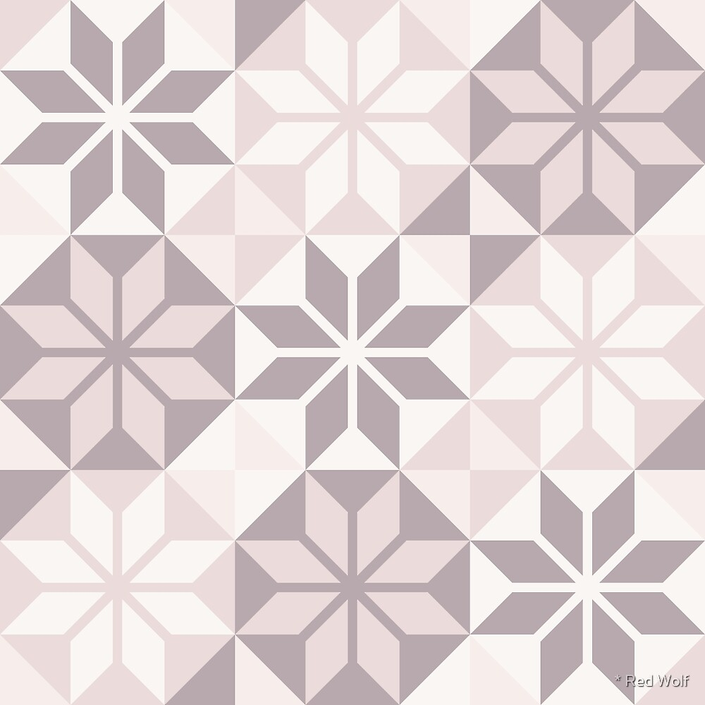Geometric Pattern: Eight Petal Flower: Brown by * Red Wolf