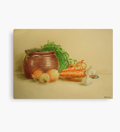 Still life with carrots and onions Canvas Print