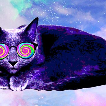 Swag Russian Blue Cat with Rainbow Sunnies by kittiemeow