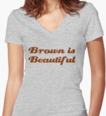 Brown is Beautiful Women's Fitted V-Neck T-Shirt
