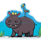 Cute hippo in the river with bird cartoon by FrogFactory