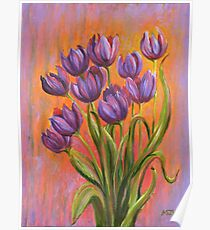 Acrylic painting, purple tulips contemporary flowers art Poster