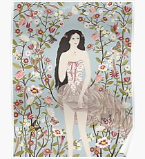 Lady, Flowers, Hummingbirds and Butterflies Poster