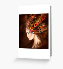 Fantasy Portrait beautiful woman butterfly Greeting Card