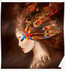 Fantasy Portrait beautiful woman butterfly Poster