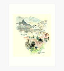 Granada · Vista del Albaicín al amanecer Lámina artística