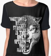 Be Strong As A Wolf  Chiffon Top