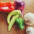 Peppers, Onions, Garlic by jmgreenartworks