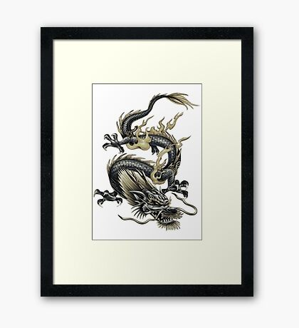 Lucky Chinese Dragon In Grey and Gold Framed Print