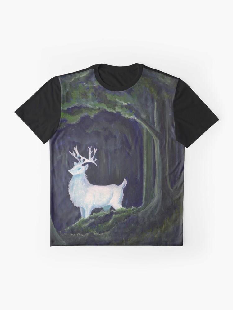 Alternative Ansicht von weißer Hirsch Grafik T-Shirt